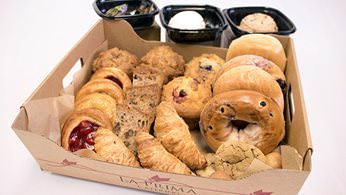 Assorted pastry buffet with bagels