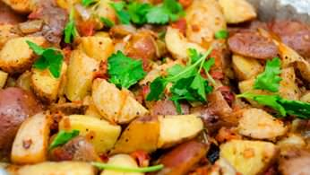 Hot home fried potatoes