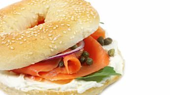 Breakfast bagel bar with smoked salmon