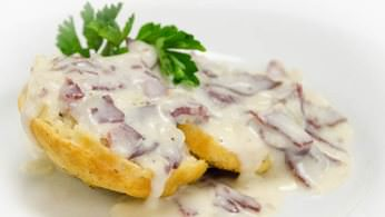 Creamed chipped beef gravy with southern biscuits