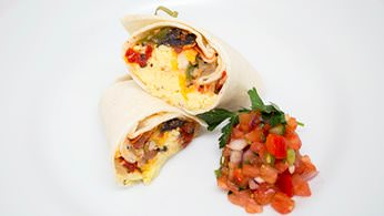 Hot breakfast burritos