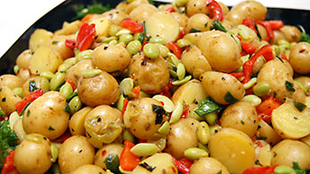 Potato and edamame salad