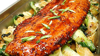 Hot Entrées - Salmon with Brown Sugar Soy Glaze