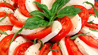 Mozzarella, tomato and basil platter