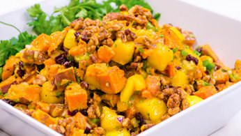 Roasted sweet potato and mango salad