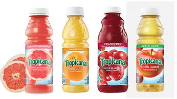 Assorted bottled fruit juices
