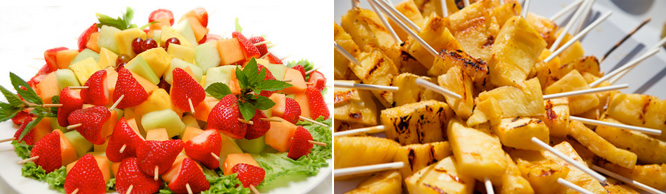 Fresh Fruit Skewers and Grilled Pineapple Pops